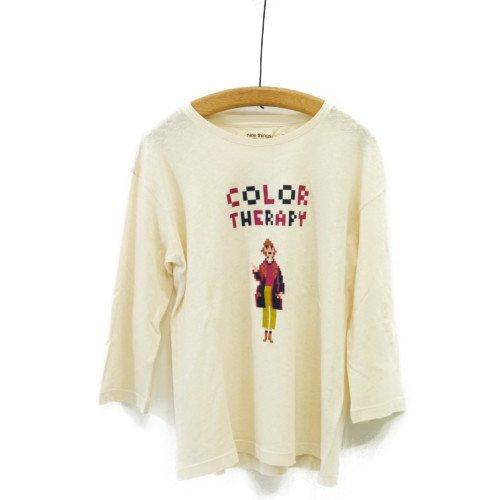 【SALE70%オフ】Nice Things ナイスシングス<br>Color Therapy 七分袖プリントTシャツ<br>スペイン/メール便対応可能