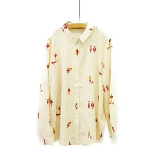 Nice Things ナイスシングス<br>ガールプリントシャツ<br>スペイン//メール便対応可能