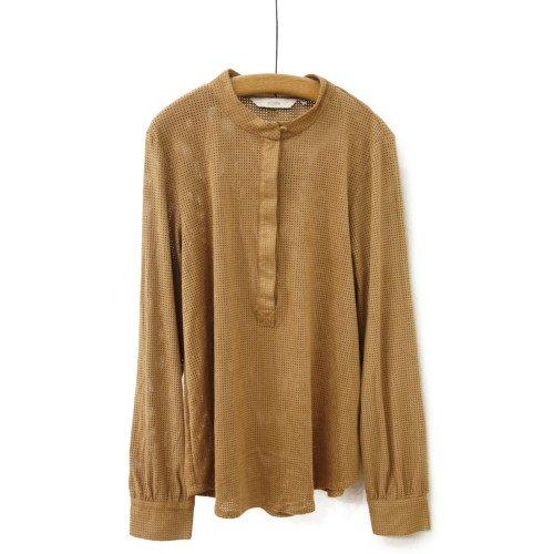 【SALE70%オフ】<br>NUMPH ニンフ<br>スウェードタッチパンチングシャツ<br>デンマーク/メール便対応可能