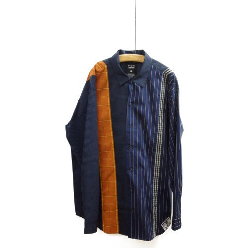 VOY ヴォーイ<br>Mixed check open collar shirt<br>送料無料/メール便対応可能/Japan<br>