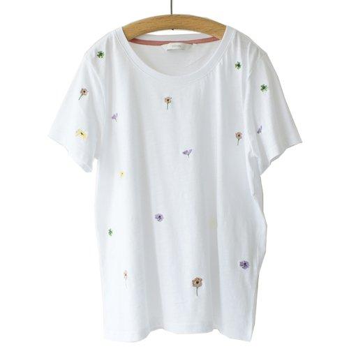 再値下げ★【MORE SALE】NUMPH ニンフ<br>フラワー刺繍Tシャツ<br>メール便対応可能/デンマーク
