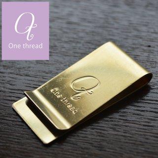 One thread(ワンスレッド)  マネークリップ 真鍮 ワイド ソリッドブラス ノンポリッシュ 日本製 金色 無垢 ゴールドカラー Brass