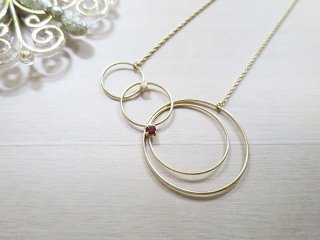 プラネットリング ネックレス ガーネット Planet Ring【受注生産】