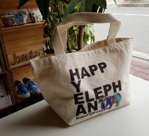 """厚手コットンバッグ""""HAPPY ELEPHANT"""" Sサイズ"""