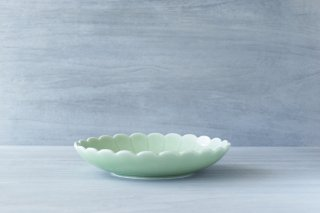 ねぎ青磁 7寸菊割皿