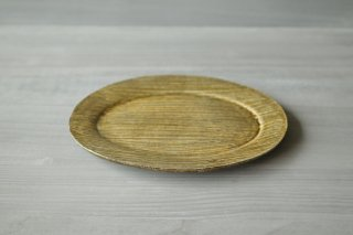刷毛目 灰釉楕円皿