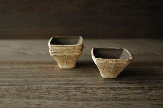 石瓷印花四方小鉢