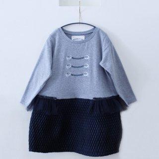 【50%OFF!】michirico / 15AW-04 / Button Print Dress / GY×BK