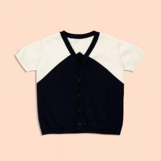 【50%OFF!】tinycottons / v-neck SS knit cardigan / navy/stone / SS18-263