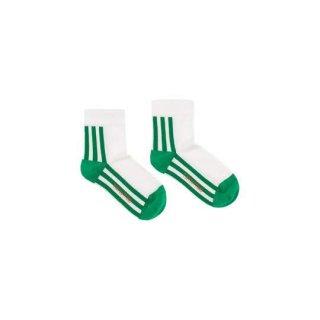 【50%OFF!】TINYCOTTONS / 'STRIPES' QUARTER SOCKS / off-white/green