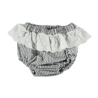 【50%OFF!】tocoto vintage / Striped culotte with swiss embroidered ruffle / NAVY