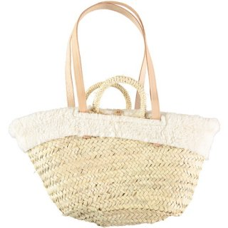 【50%OFF!】tocoto vintage / Straw bag with removable sheepskin lining and leather straps / OFF-WHITE