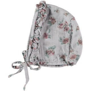 【40%OFF!】tocoto vintage / Flower print bonnet / GREY