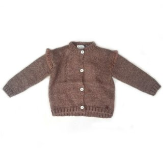 【50%OFF!】tocoto vintage / Knitted cardigan with lace details on the shoulders / BROWN