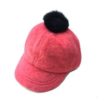 chocolatesoup / FLEECE POMPOM CAP / RED