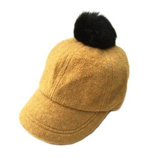 chocolatesoup / FLEECE POMPOM CAP / YELLOW