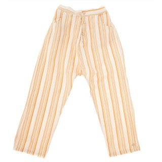 【40%OFF!】tocoto vintage / Striped pyjama style trousers with front pockets / MUSTARD