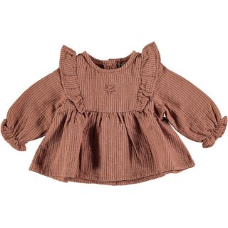 【40%OFF!】tocoto vintage / Striped blouse with ruffles / PINK