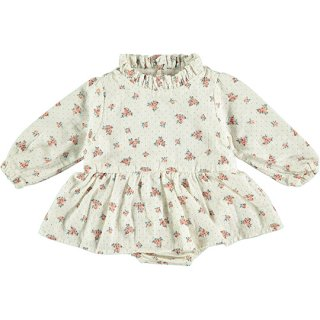 【40%OFF!】tocoto vintage / Flower print baby dress with ruffled neck and inner body / OFF-WHITE