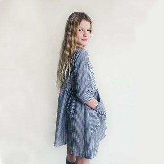 AS WE GROW / POCKET DRESS / Navy Stripes