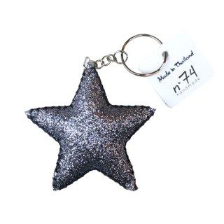 Numero74 / Glitter Star Key Chain / dark silver