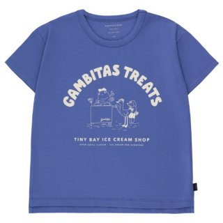 TINYCOTTONS / GAMBITAS TREATS TEE / iris blue/light cream