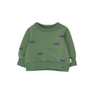 TINYCOTTONS / DOGGY PADDLE BABY SWEATSHIRT / green/iris blue