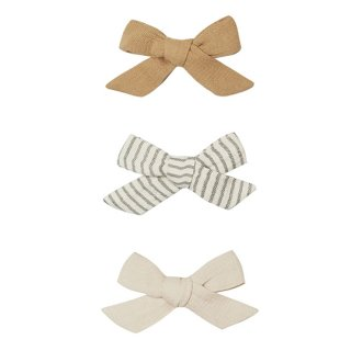 QUINCY MAE / BOW W. CLIP, SET OF 3 / HONEY, BASIL, NATURAL