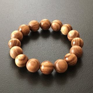 ゼブラウッドの数珠ブレスレット(木珠,12mm珠)