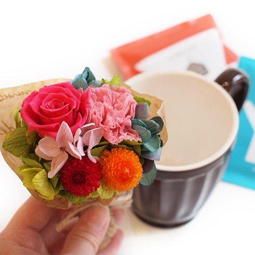 マグカップとミニブーケ+コーヒーのセット(オレンジブーケ )