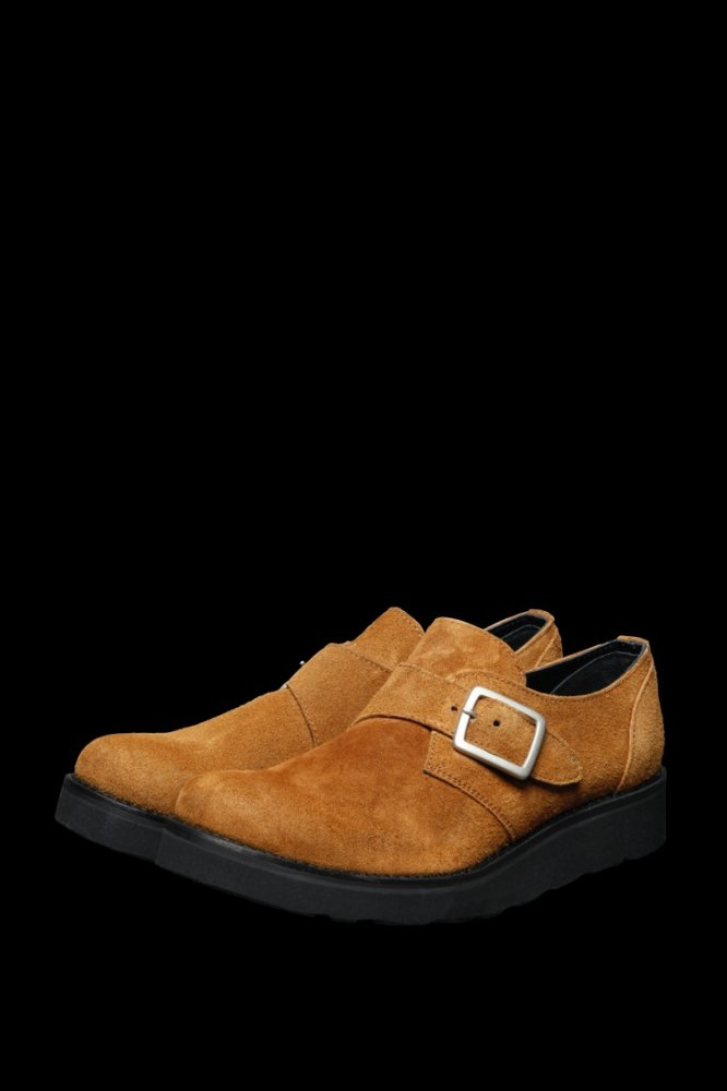 JAPAN CALF SUEDE SINGLE MONK STRAP SHOES