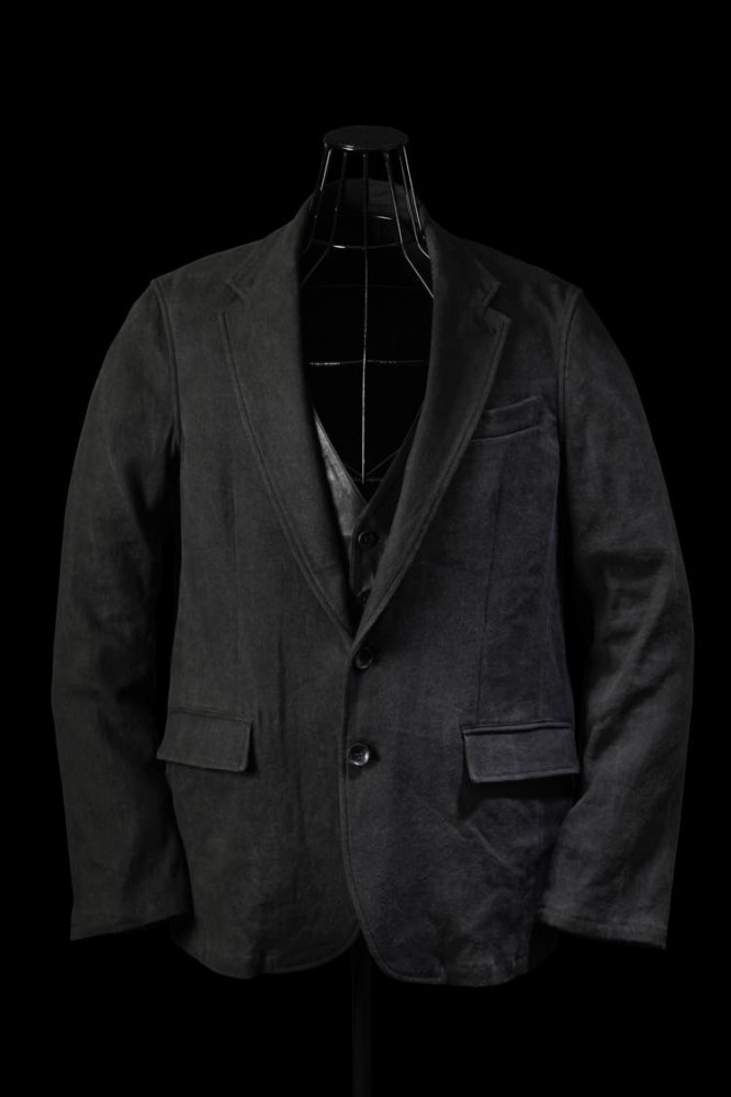 """STRETCH LINEN OX """"FABRIC-DYED"""" + INDIAN GOAT DOUBLEFACE JACKET"""