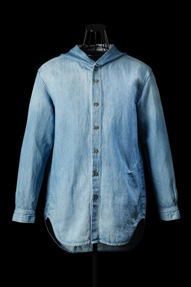 COTTON-LINEN DENIM HOODED SHIRT