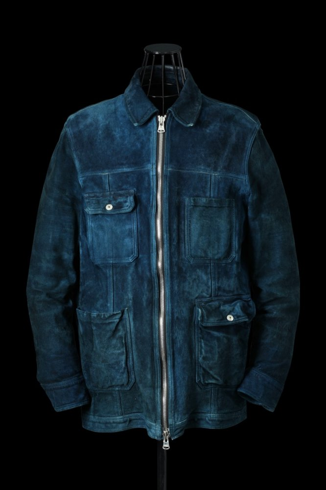 """JAPAN CALF WET WHITE """"GARMENT-DYED"""" COVERALL JACKET"""