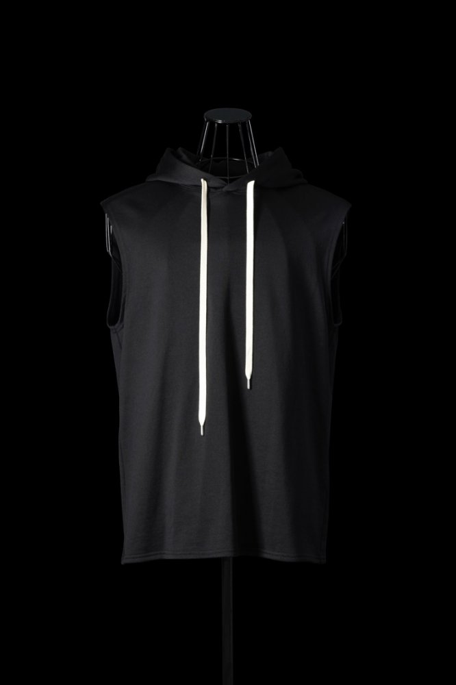 NYLON-COTTON JERSEY SLEEVELESS PULLOVER HOODIE