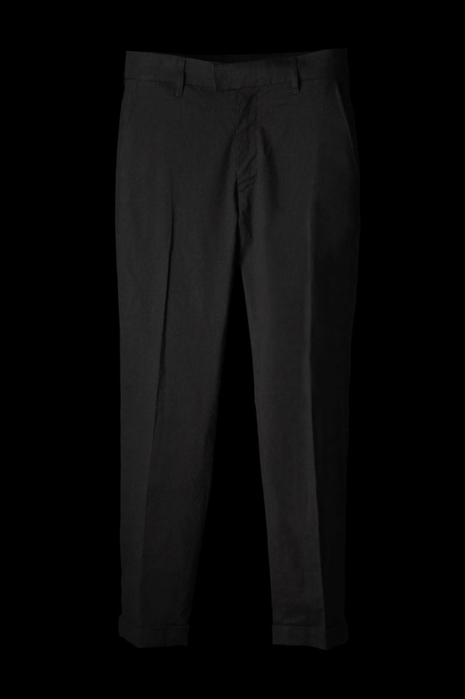 STRETCH LINEN-RAYON TAPERED SLACKS PANTS