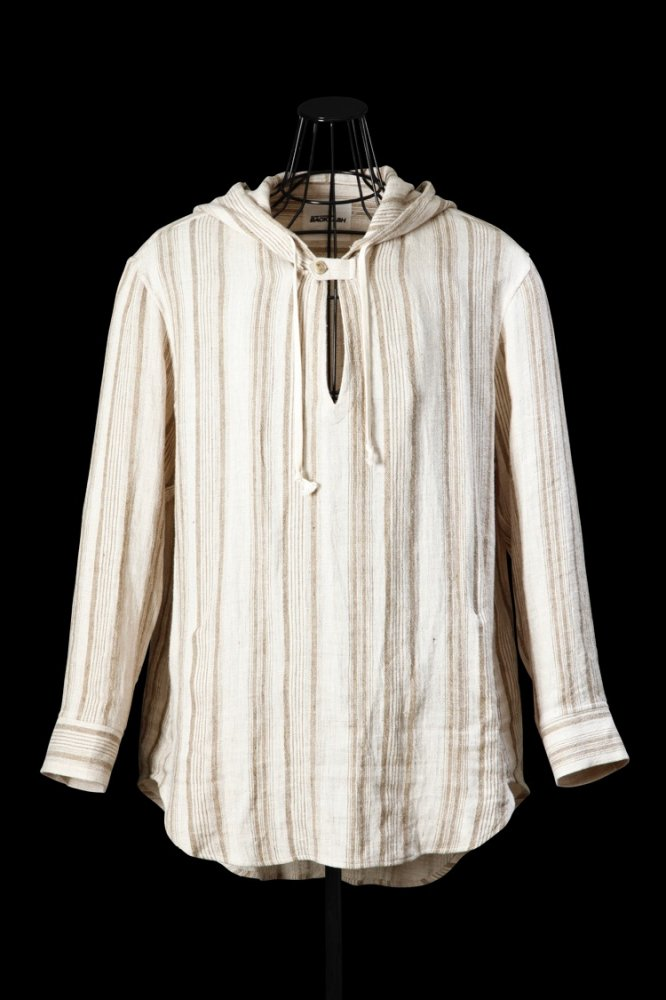 NATURAL SOFT SILK-LINEN SKIPPER HOODED SHIRT