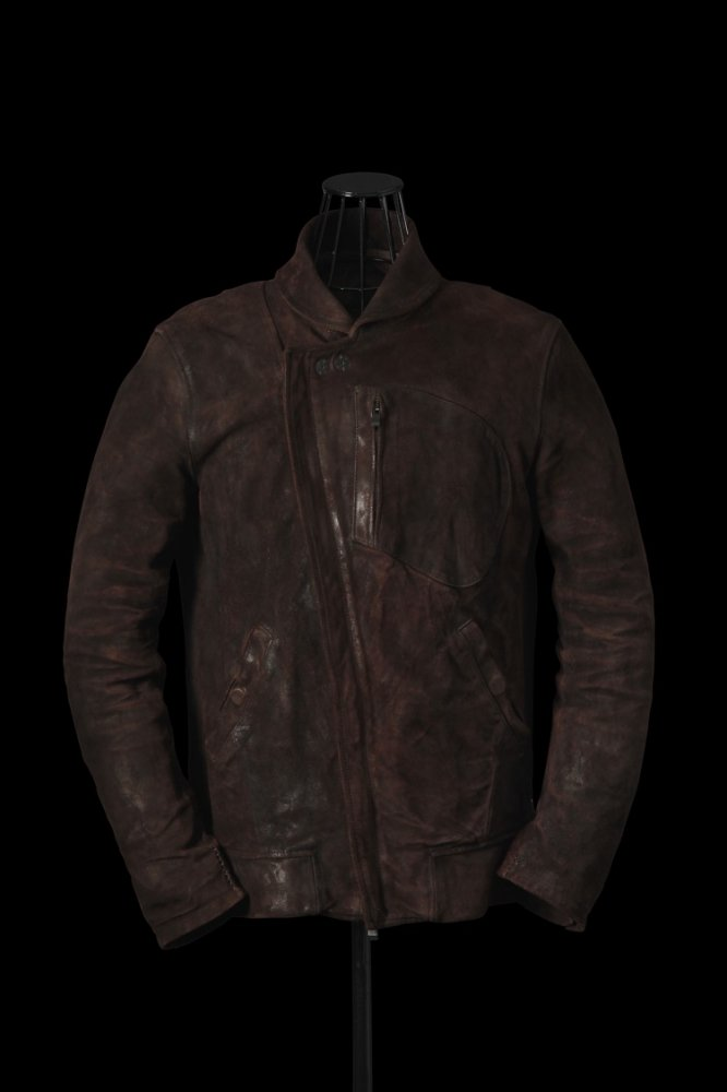 """xx incarnation GERMAN BABY CALF SUEDE """"GARMENT-DYED"""" LEATHER BLOUSON"""