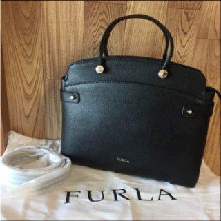 フルラ トートバッグ FURLA Agata レザー ブラック
