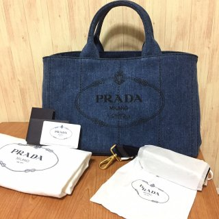 プラダ ハンドバッグ PRADA カナパ デニム Mサイズ