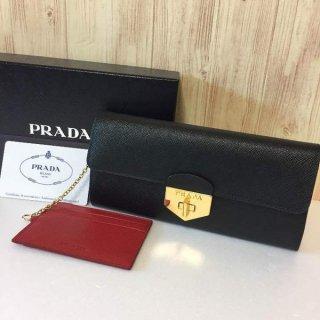 プラダ 長財布 PRADA サフィアーノ ゴールド金具 フラップ