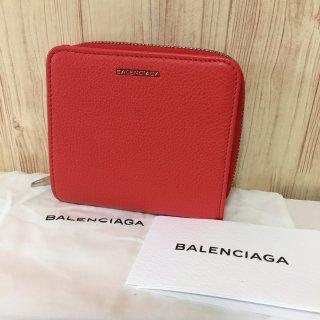 バレンシアガ 財布 BALENCIAGA ESSENTIAL 折りたたみ レッド
