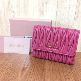 ミュウミュウ 財布 MIUMIU マトラッセ 二つ折り ピンク
