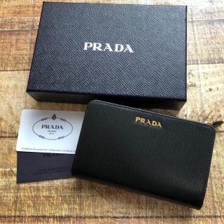 新品  PRADA サフィアーノ折りたたみ財布 NERO/LACCA