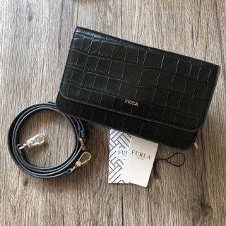新品 フルラ RIVA 長財布 ショルダー クロコ型押しレザー