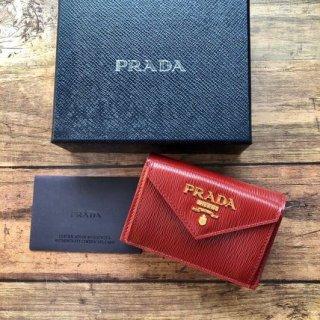 新品 PRADA プラダ コンパクト 三つ折財布 ルビー