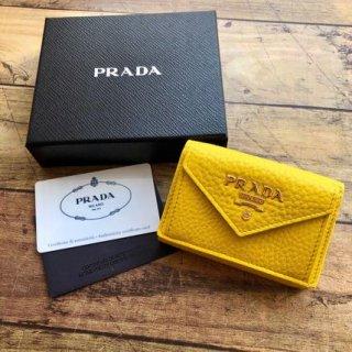 新品 PRADA プラダ VITELLO GRAIN コンパクト 三つ折財布