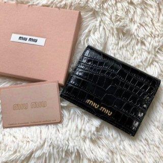 新品 ミュウミュウ MIUMIU クロコ型押し 二つ折り財布