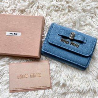 新品 ミュウミュウ miumiu リボン 三つ折り財布 マドラス ブルー