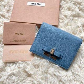 新品 ミュウミュウ miumiu リボン 二つ折り財布 マドラス ブルー